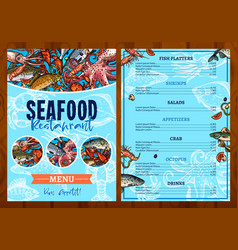 Menu for seafood fish restaurant vector