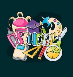 school elements clip art doodle vector image