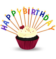 Birthday card template with cupcake and candles vector