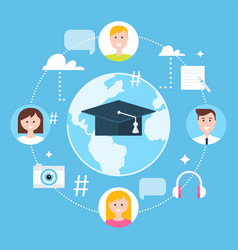 Global education online learning and e-learning vector