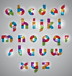 Geometric style letters alphabet with lights vector