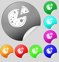 Pizza icon set of eight multi colored round vector