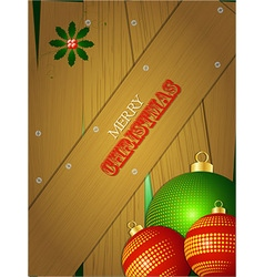 Christmas wooden portrait panel with baubles vector