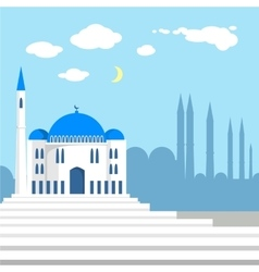 Mosque on the background of islamic city vector