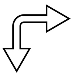 Choice arrow right down outline icon vector