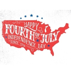 Fourth of july hand-lettering card vector