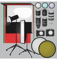 Set of photo studio equipment paper photo vector