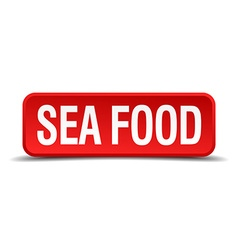 Sea food red 3d square button isolated on white vector