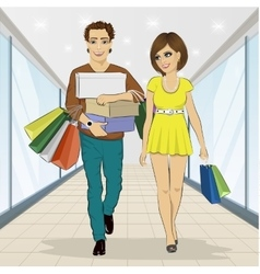 Man carrying stacks of boxes and shopping bags vector