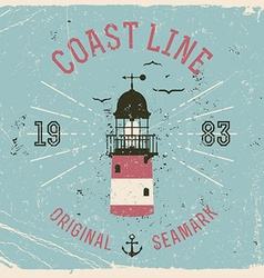 Vintage coast line poster vector