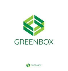 Abstract double green arrow make box shape logo vector