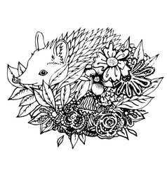 Abstract graphic hedgehog print vector