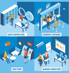bank services flat 3d isometric poster set vector image vector image