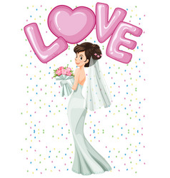 Beautiful bride in white dress vector