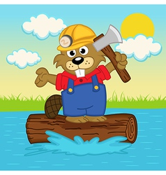 beaver on log vector image