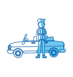 Character man standing car side blue line vector