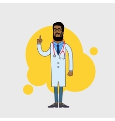 character of happy black doctor in medical vector image