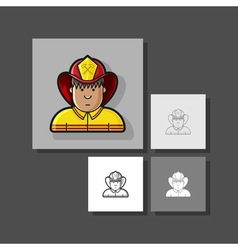 Contour icon firefighter in a yellow form and a vector