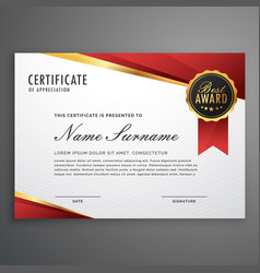 creative certificate of appreciation award vector image vector image