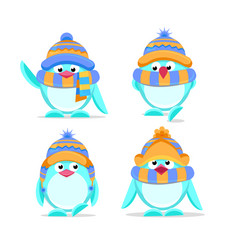 cute hand drawn penguins set vector image