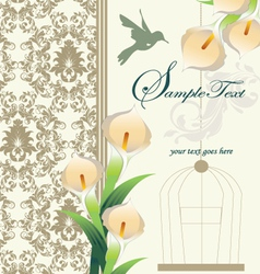 damask wedding invitation ornate with calla lily vector image vector image
