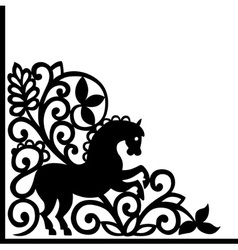 Decorative element with horse vector image vector image