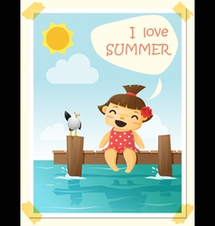 Enjoy tropical summer holiday with little girl 4 vector