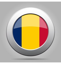 Flag of Chad Shiny metal gray round button vector image