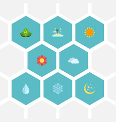 Flat icons sky sunshine water and other vector
