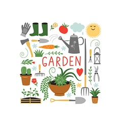 Garden objects design elements vector