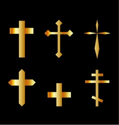 golden christian crosses in different designs vector image vector image