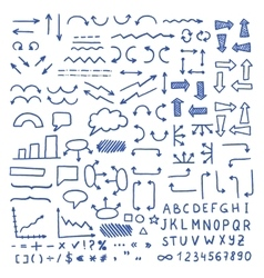 Huge set of blue hand drawn elements vector image