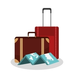 Isolated bag and map of travel design vector
