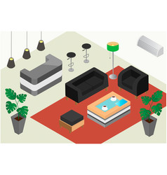 isometric design of a reception office or hotel vector image vector image