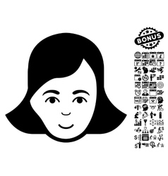 Lady face flat icon with bonus vector