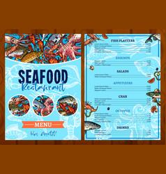 Menu for seafood fish restaurant vector