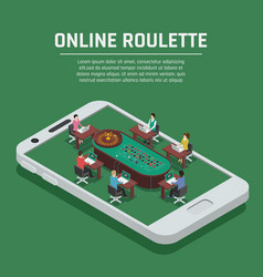 online roulette isometric smartphone poster vector image vector image