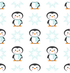 Pattern with christmas penguin in scarf vector
