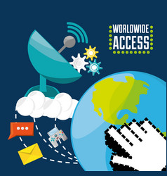 satellite and world connectivity concept vector image vector image