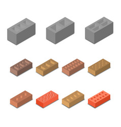 Set isometric icon construction materials vector