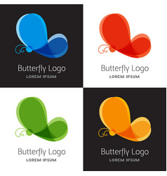 set of colorful butterfly logo template vector image vector image
