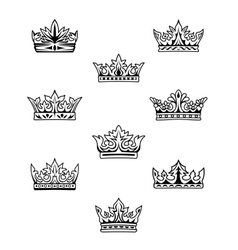 Set of king and queen crowns vector image
