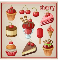 Set of sweets with cherry vector