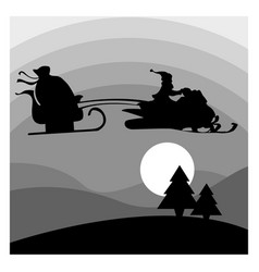 Silhouette santa claus riding snowmobile vector