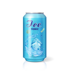 Soft drink ice tonic metallic can with ice cube vector