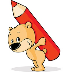 Teddy bears carry pencil on the back - vector image vector image