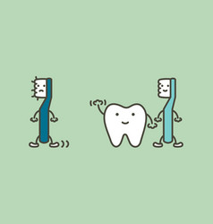 Tooth say goodbye old toothbrush change to new vector