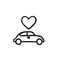 Wedding car with heart sketch icon vector