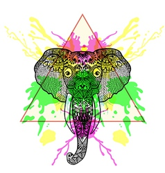 Zentangle stylized Elephant in triangle frame with vector image vector image