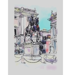 Sketch digital drawing of rome italy cityscape vector
